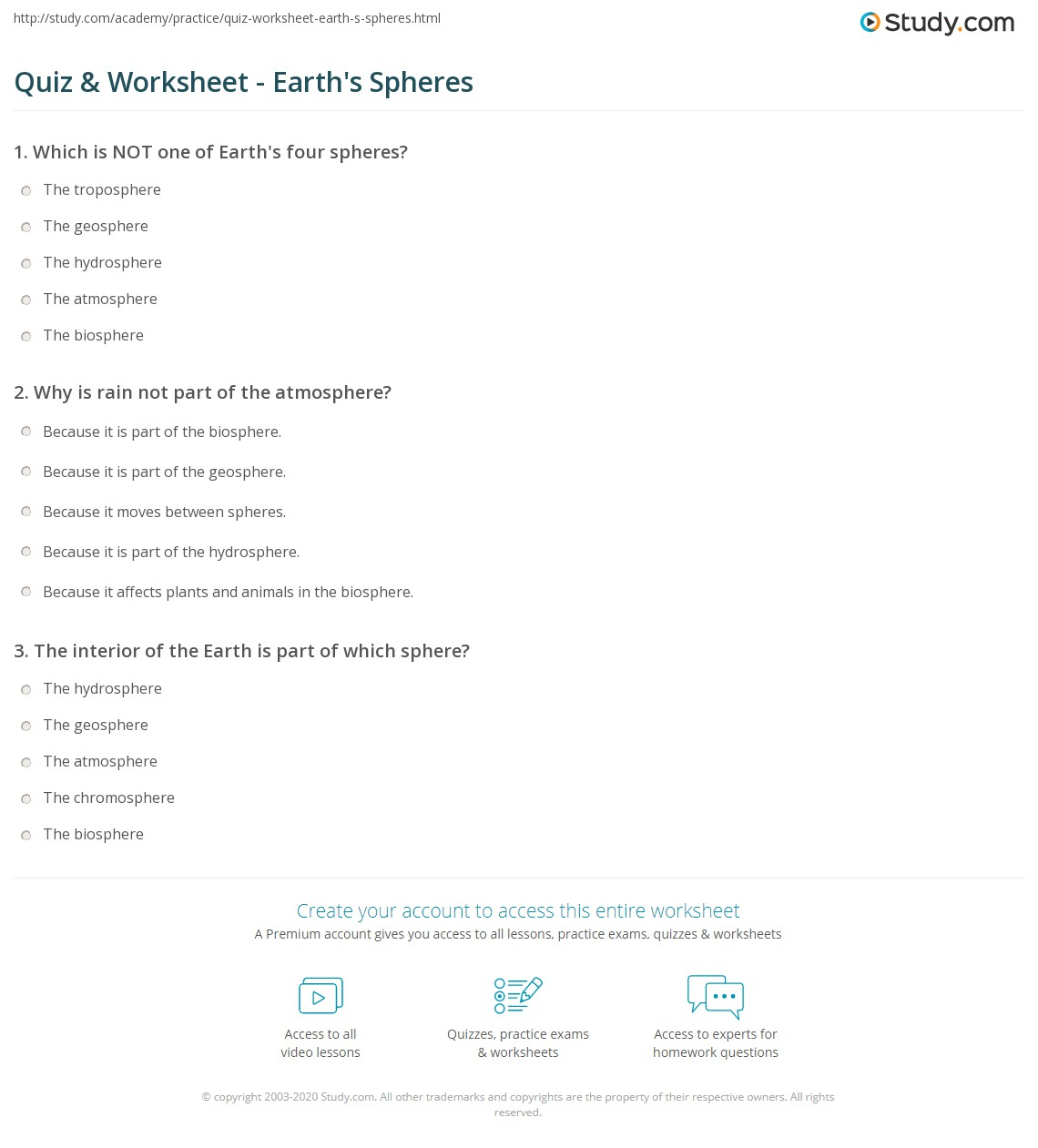 hight resolution of Quiz \u0026 Worksheet - Earth's Spheres   Study.com