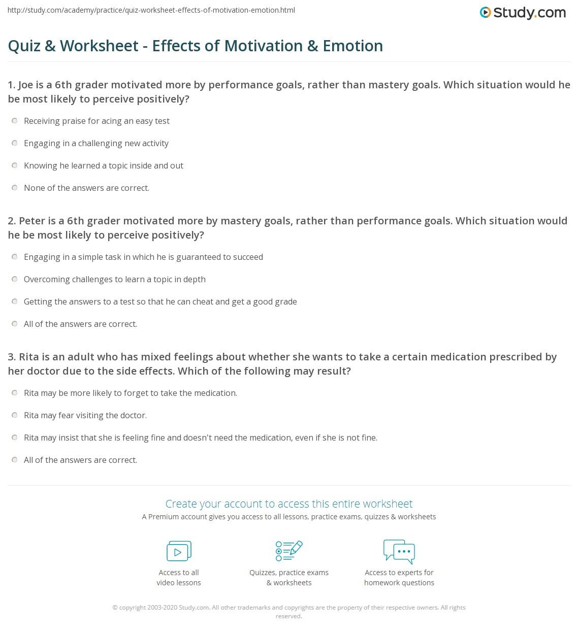 hight resolution of Quiz \u0026 Worksheet - Effects of Motivation \u0026 Emotion   Study.com