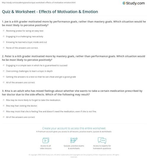 small resolution of Quiz \u0026 Worksheet - Effects of Motivation \u0026 Emotion   Study.com