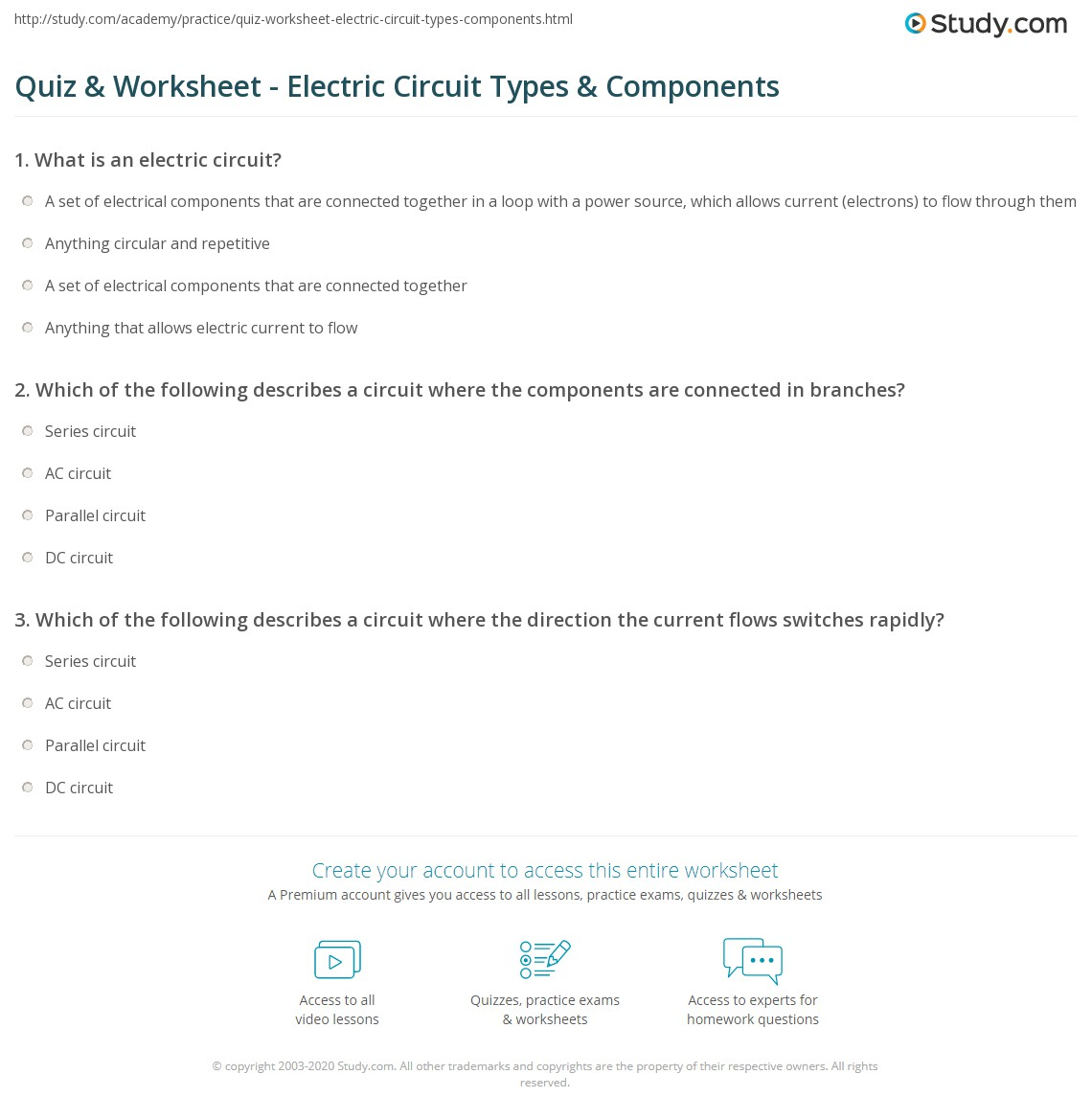 Worksheet Electrical Circuits Worksheets Grass Fedjp