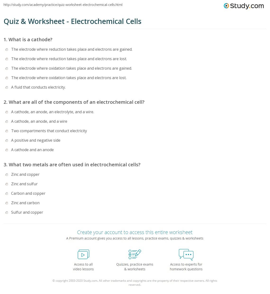 Worksheet Electrochemical Cell Worksheet Grass Fedjp