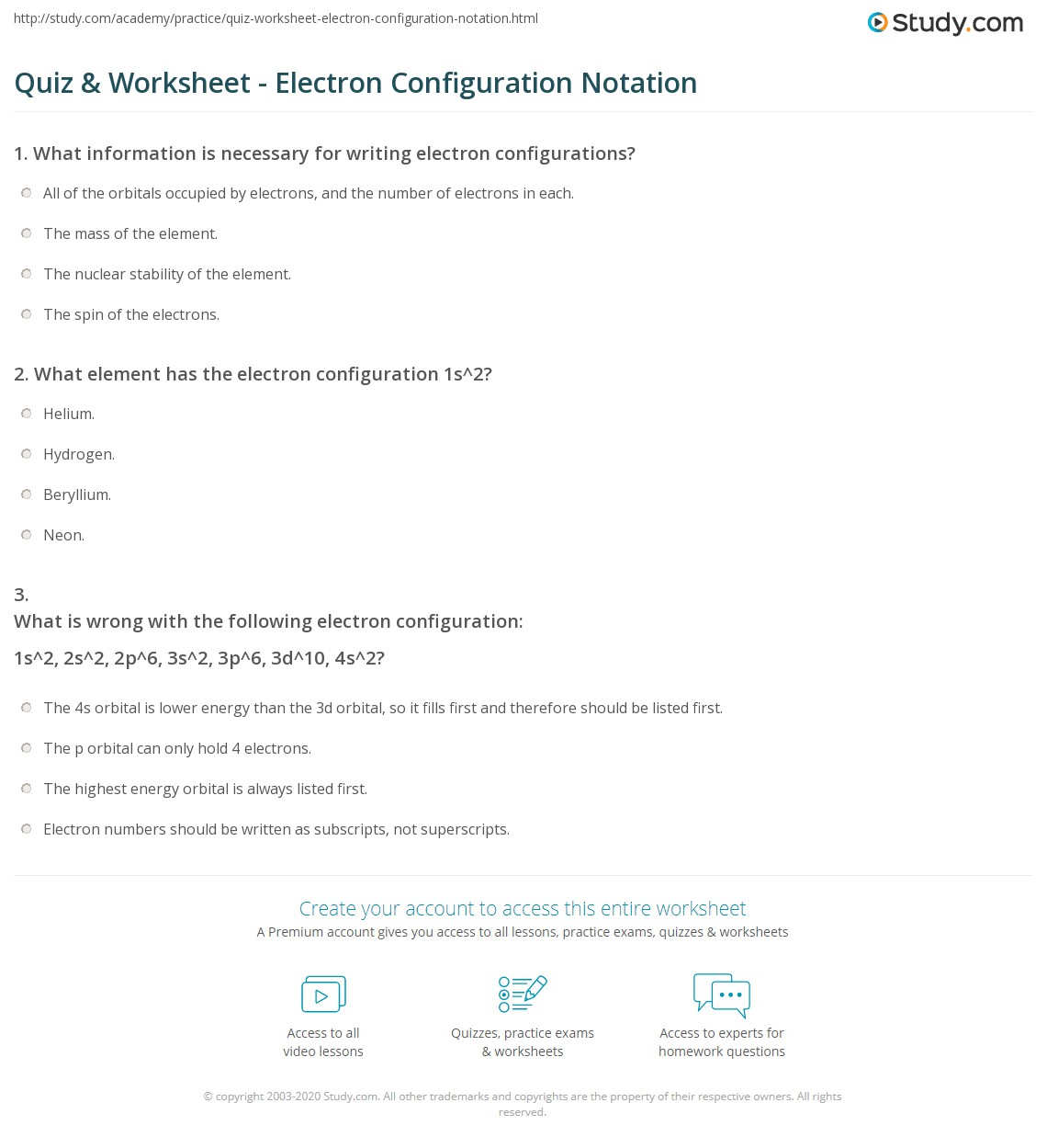 Electron Configuration Level One Worksheet