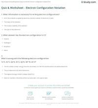 Quiz & Worksheet - Electron Configuration Notation | Study.com