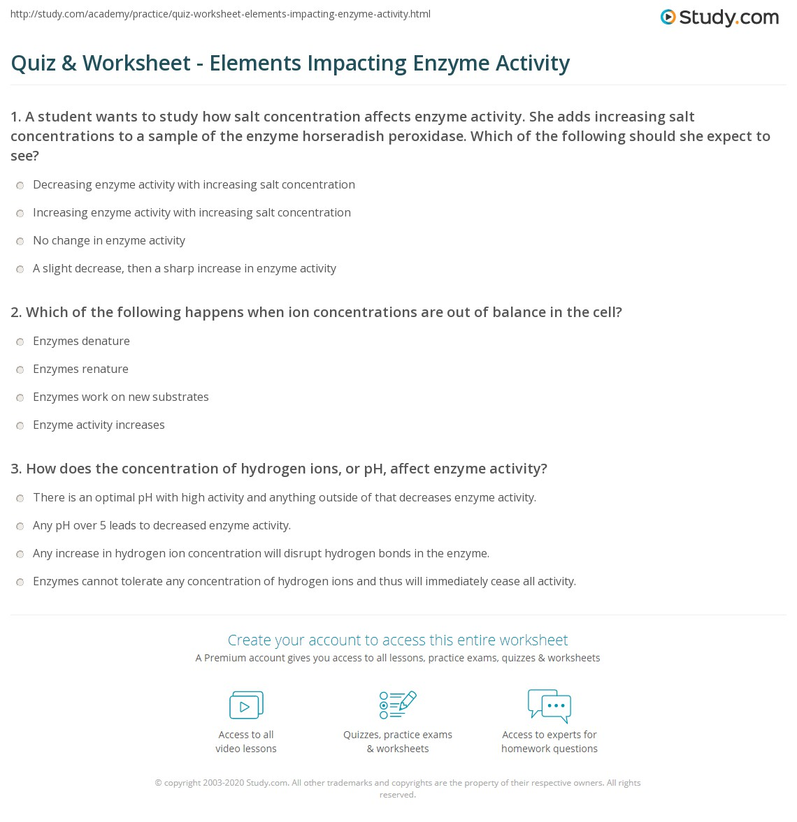 Enzymes Substrates Worksheet