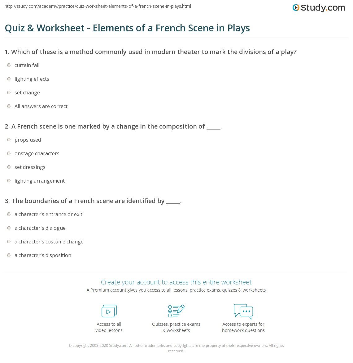 hight resolution of Quiz \u0026 Worksheet - Elements of a French Scene in Plays   Study.com