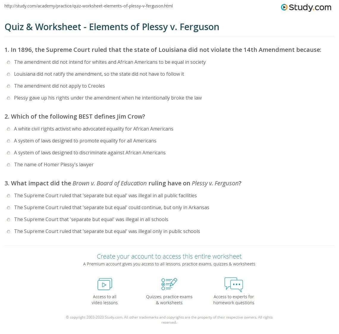 Plessy V Ferguson Worksheet Answers