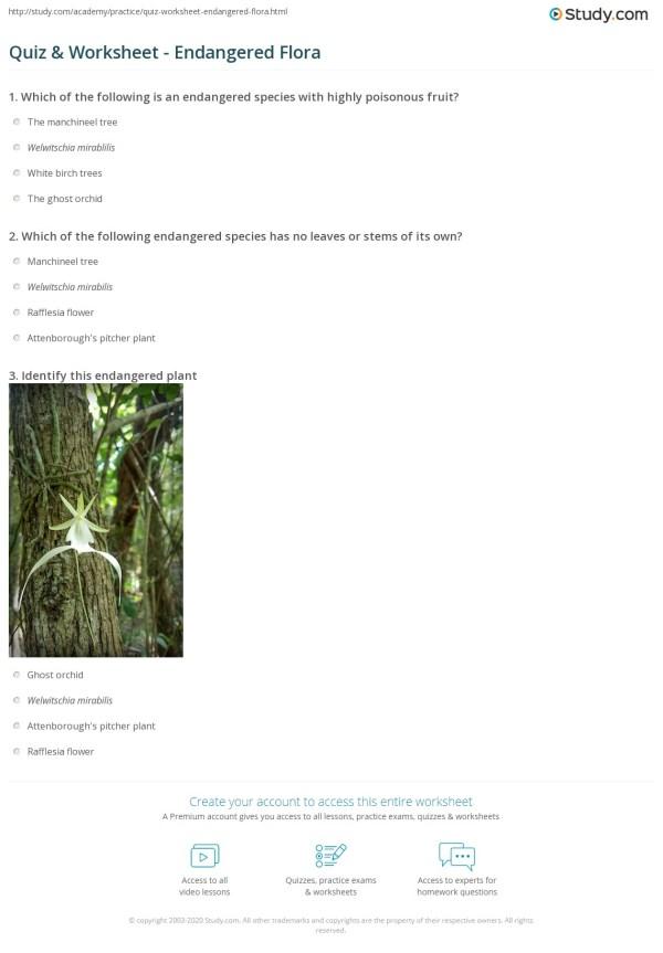 Quiz & Worksheet - Endangered Flora