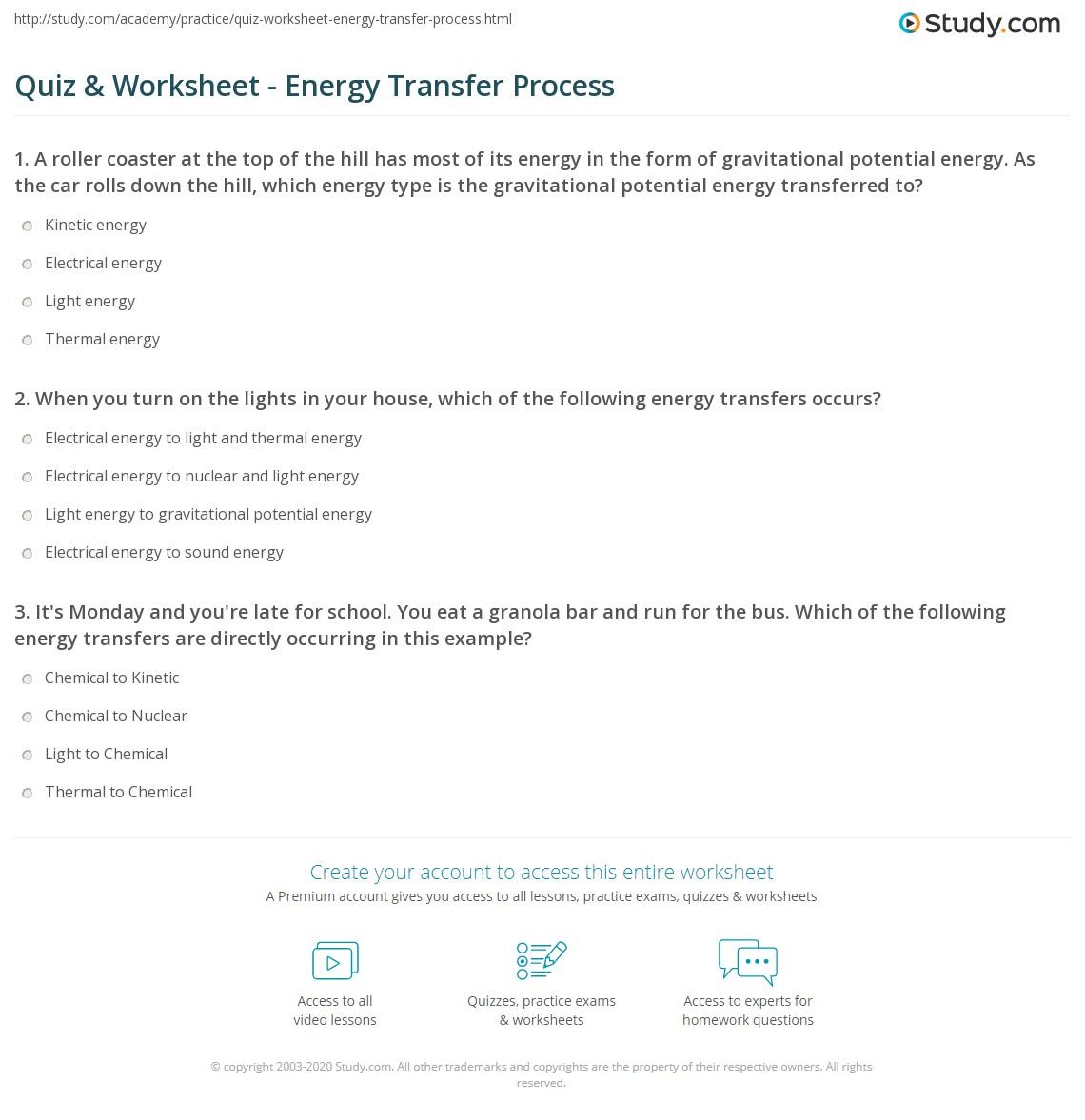 Energy Test Worksheet