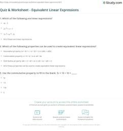 Quiz \u0026 Worksheet - Equivalent Linear Expressions   Study.com [ 1181 x 1140 Pixel ]