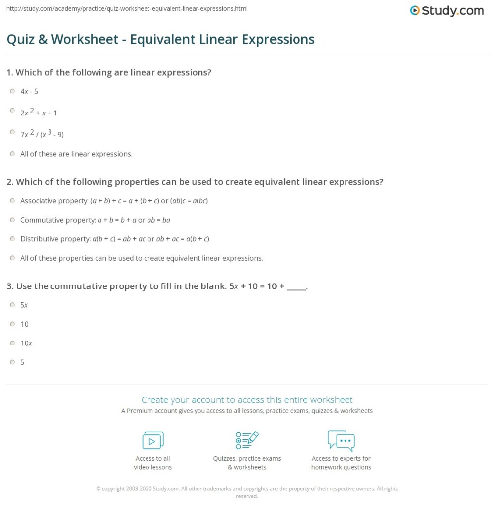 medium resolution of Quiz \u0026 Worksheet - Equivalent Linear Expressions   Study.com