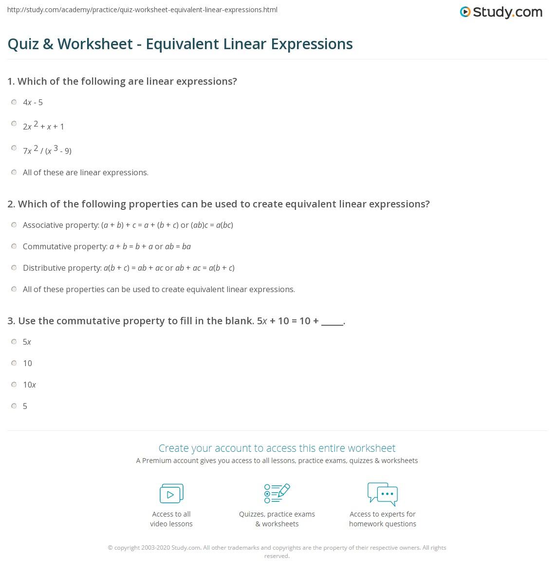 hight resolution of Quiz \u0026 Worksheet - Equivalent Linear Expressions   Study.com