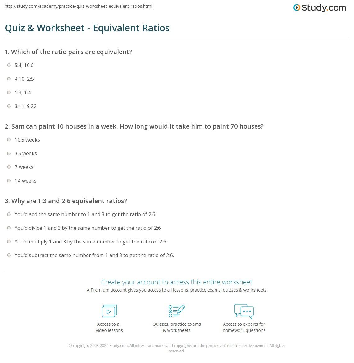 hight resolution of Quiz \u0026 Worksheet - Equivalent Ratios   Study.com
