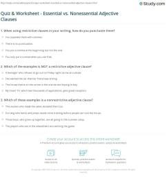 Quiz \u0026 Worksheet - Essential vs. Nonessential Adjective Clauses   Study.com [ 1192 x 1140 Pixel ]