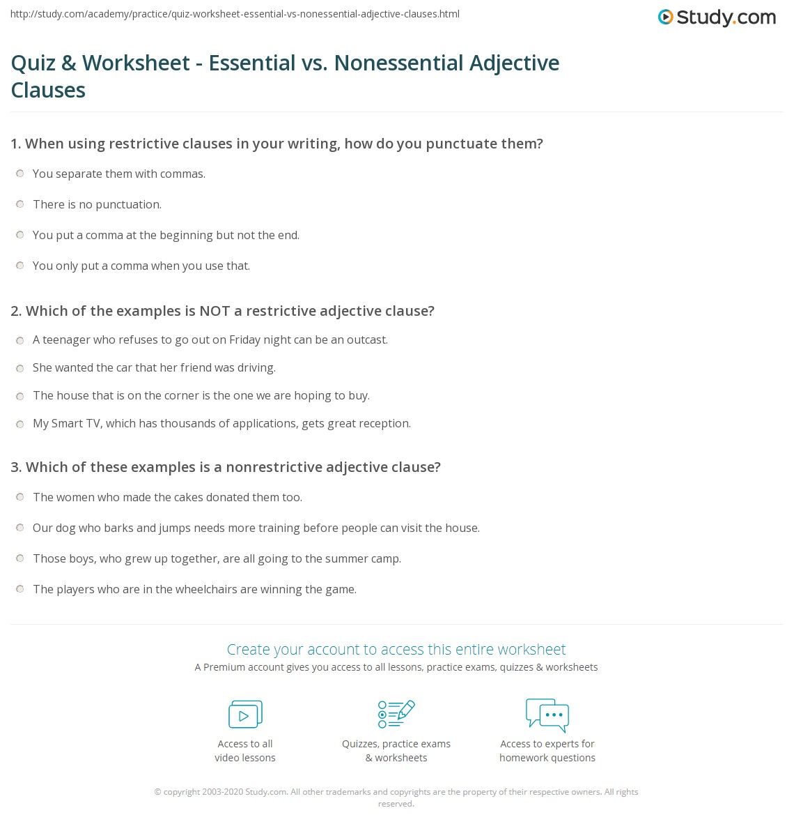 hight resolution of Quiz \u0026 Worksheet - Essential vs. Nonessential Adjective Clauses   Study.com