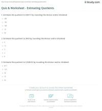 Quiz & Worksheet - Estimating Quotients | Study.com