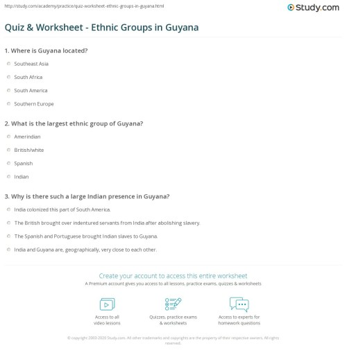 small resolution of Quiz \u0026 Worksheet - Ethnic Groups in Guyana   Study.com