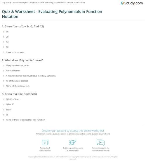 small resolution of Evaluating Functions Worksheet Algebra 2 - Worksheet List