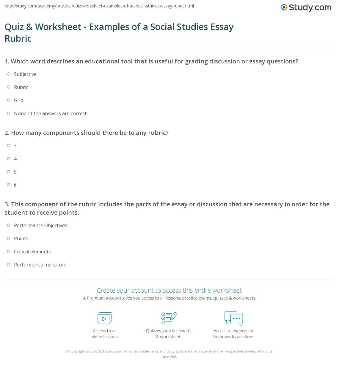 Case Study Rubric Psychology