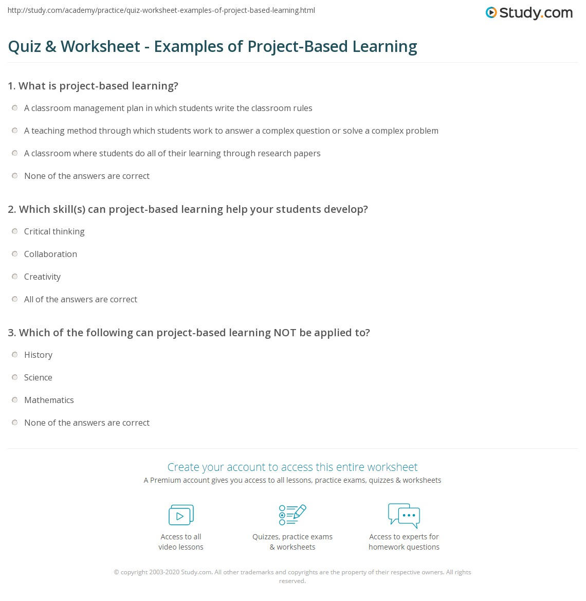 Quiz & Worksheet Examples Of Project Based Learning Study Com