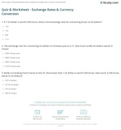 Quiz \u0026 Worksheet - Exchange Rates \u0026 Currency Conversion   Study.com [ 1216 x 1140 Pixel ]