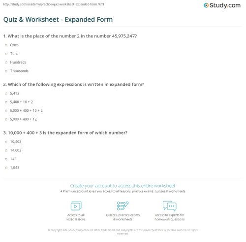 small resolution of Quiz \u0026 Worksheet - Expanded Form   Study.com