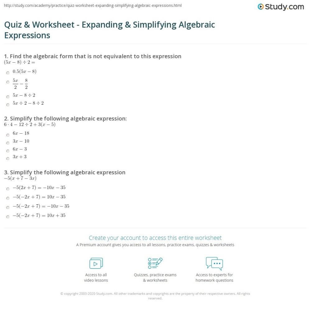 medium resolution of Quiz \u0026 Worksheet - Expanding \u0026 Simplifying Algebraic Expressions   Study.com