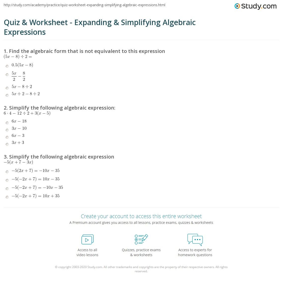 hight resolution of Quiz \u0026 Worksheet - Expanding \u0026 Simplifying Algebraic Expressions   Study.com