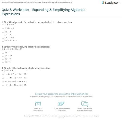 small resolution of Quiz \u0026 Worksheet - Expanding \u0026 Simplifying Algebraic Expressions   Study.com