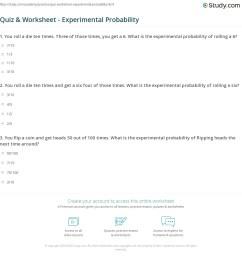 Quiz \u0026 Worksheet - Experimental Probability   Study.com [ 1181 x 1140 Pixel ]