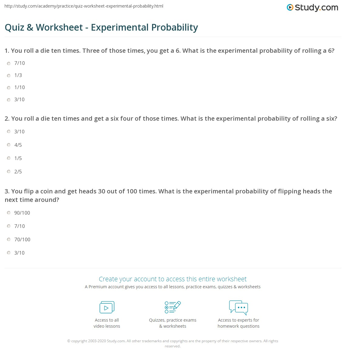 hight resolution of Quiz \u0026 Worksheet - Experimental Probability   Study.com