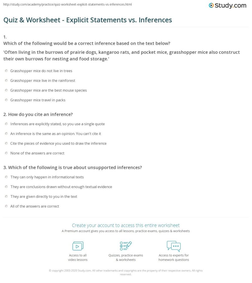 medium resolution of Quiz \u0026 Worksheet - Explicit Statements vs. Inferences   Study.com