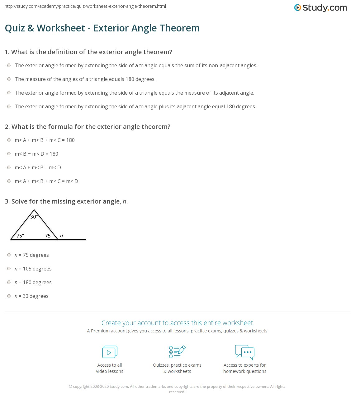 Exterior Angle Worksheet