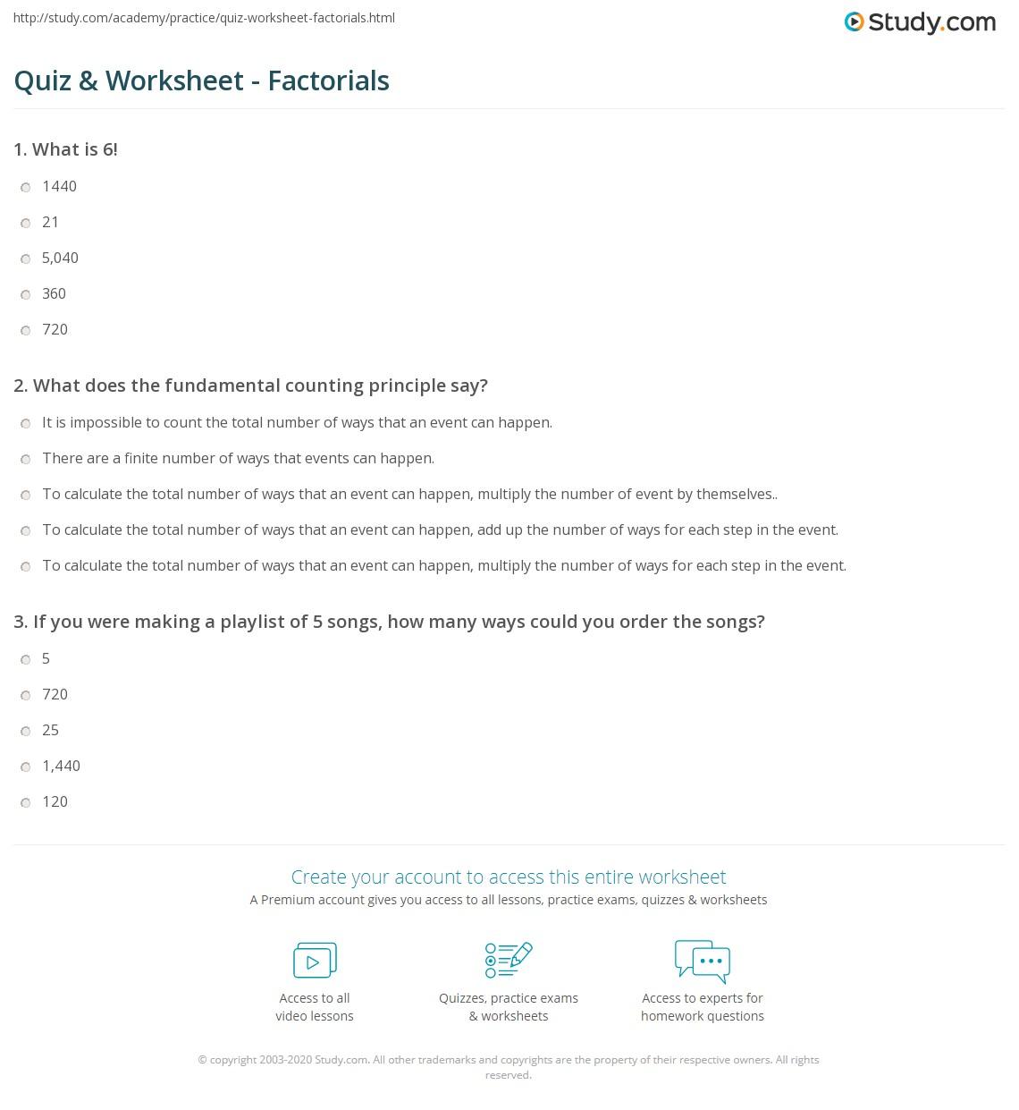 Factorial Worksheet