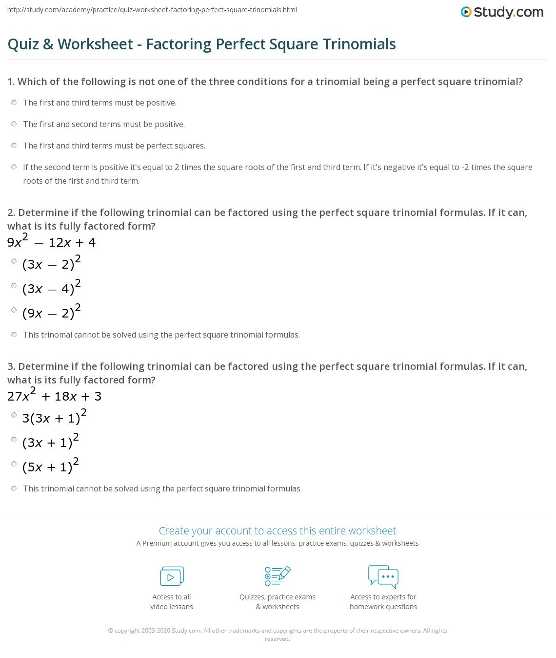 Worksheet Factoring Perfect Squares