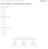 Quiz & Worksheet - Factoring & Solving Trinomials | Study.com