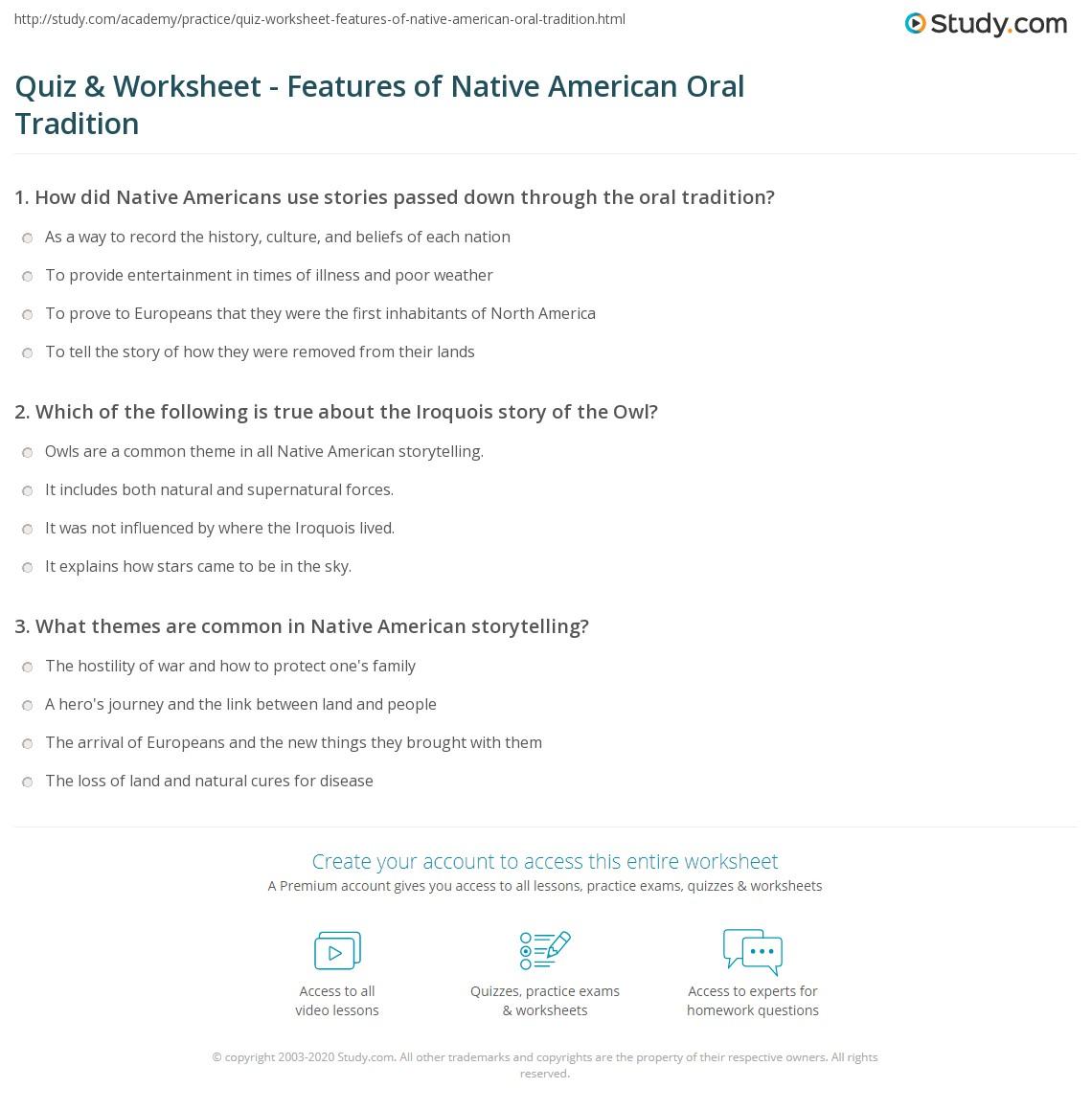 Comprehension Worksheet Native American