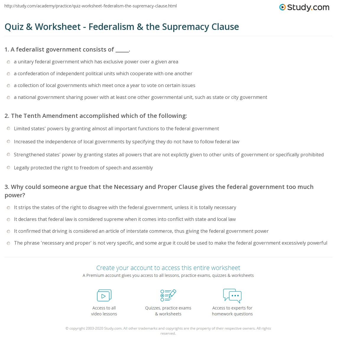 Printables Of Worksheet Federalism Answer Key