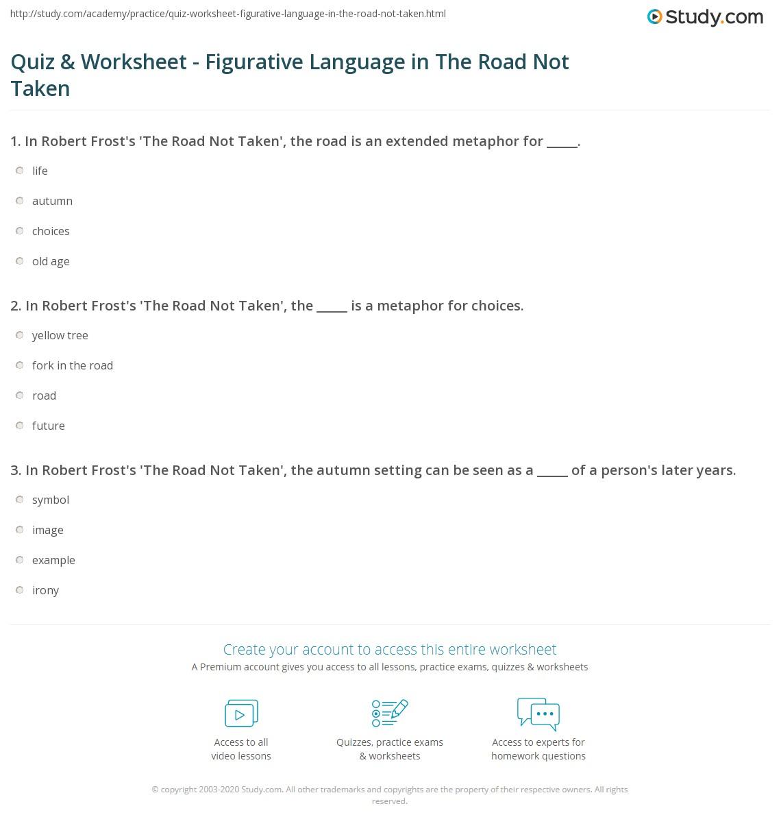 The Road Not Taken Worksheet