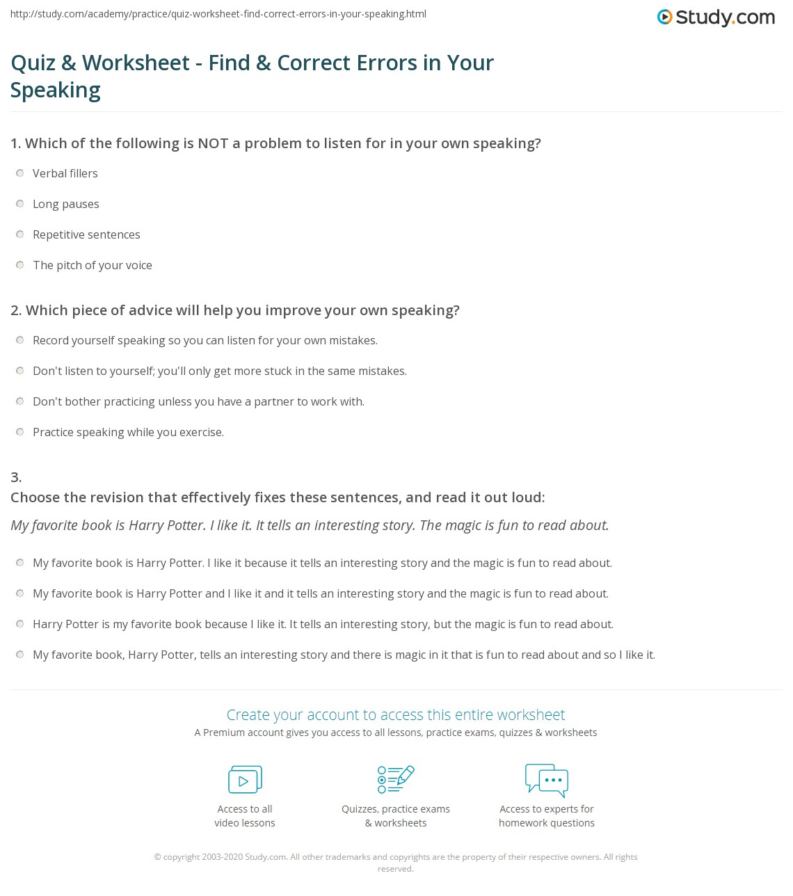 Identifying And Correcting Errors In Sentences Sentence