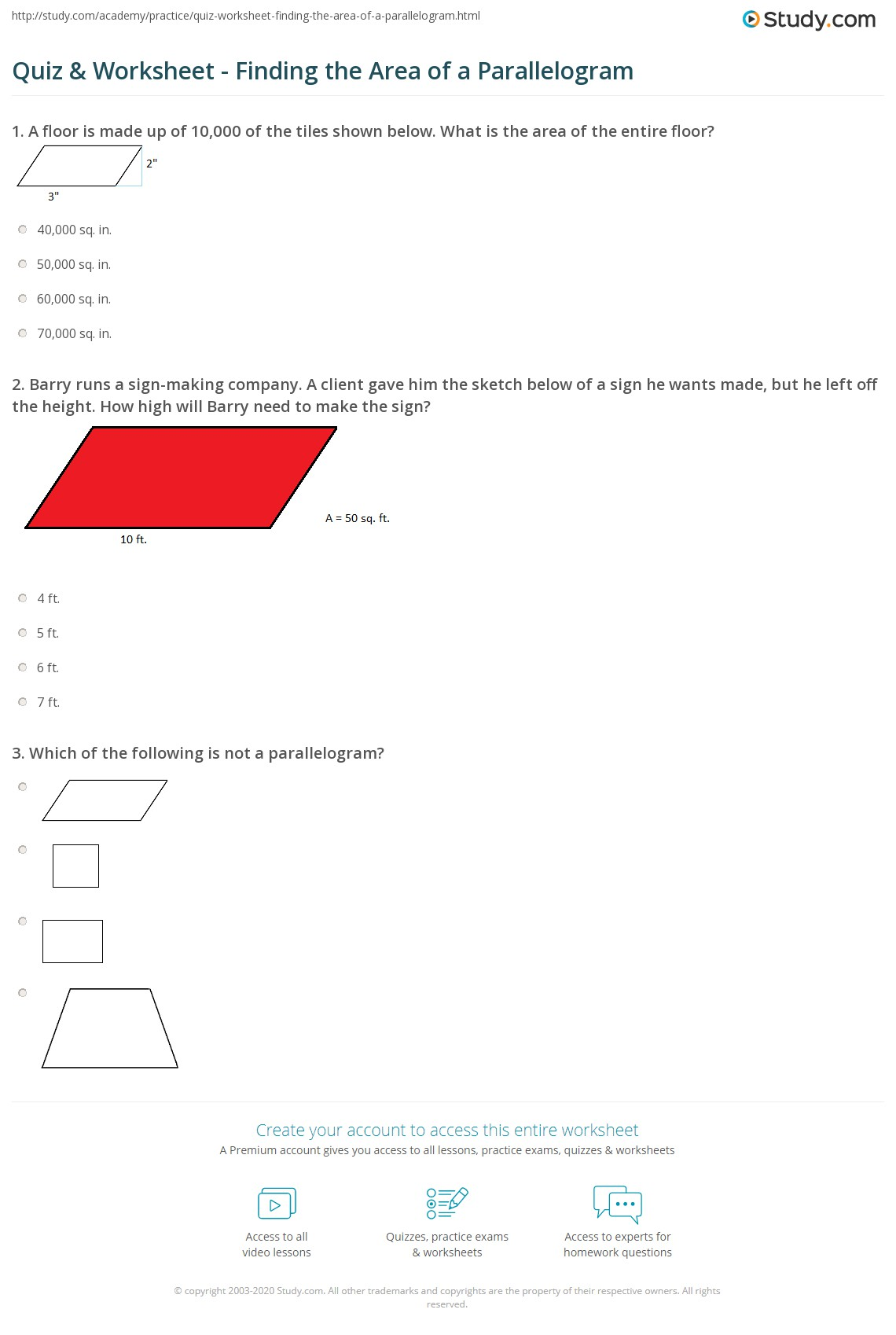Area Test Worksheet