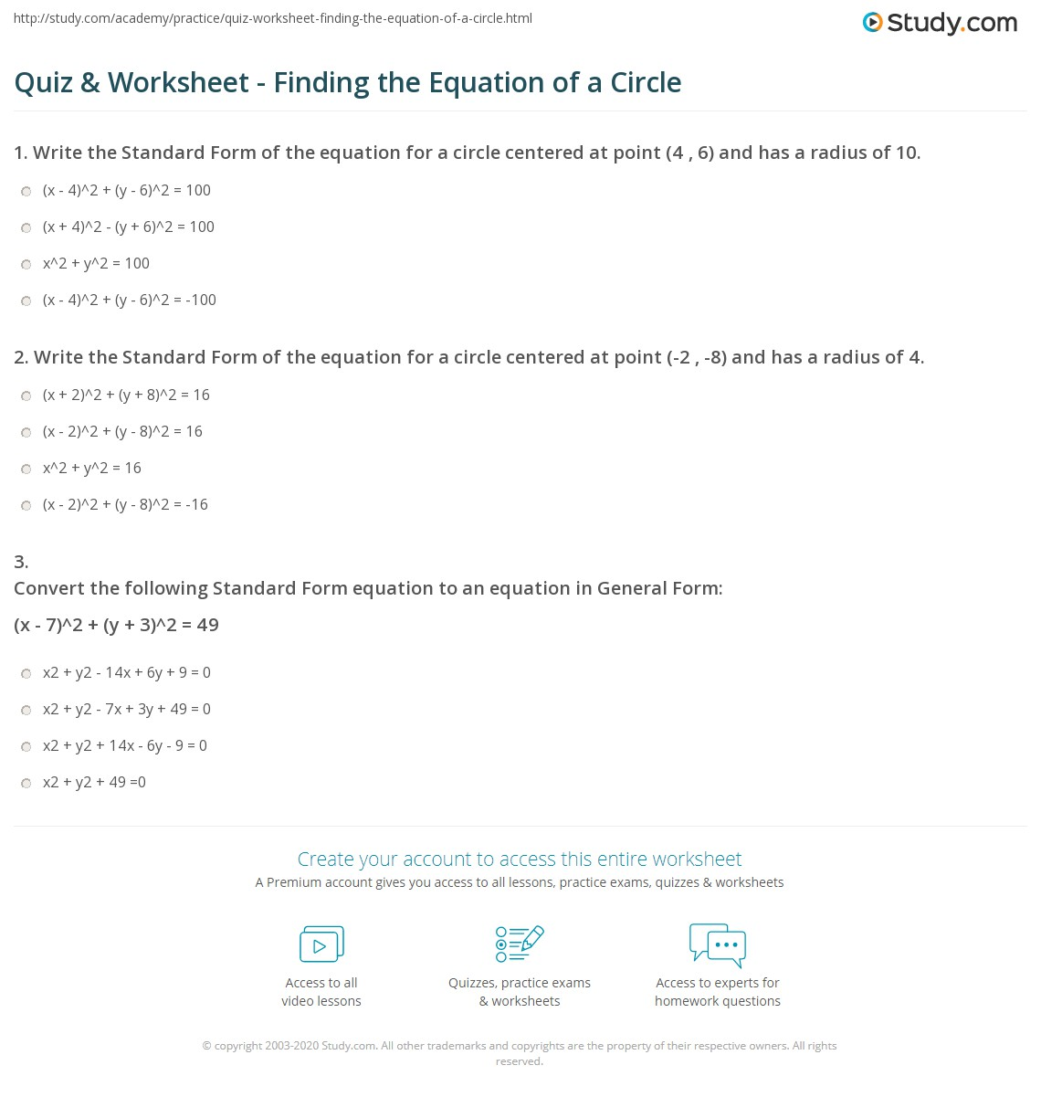 Equations Of Circles Worksheet Answer Key