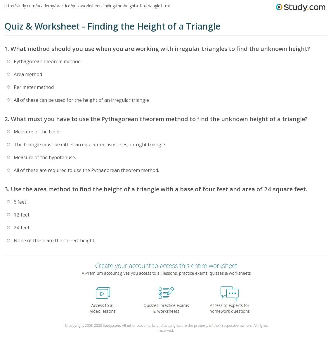 Worksheet Area Of Triangle Worksheets Worksheet Fun