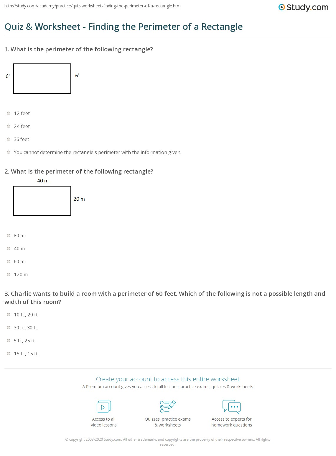 Worksheets Perimeter Of A Rectangle Worksheet Cheatslist