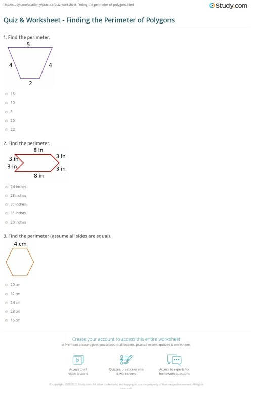 small resolution of Quiz \u0026 Worksheet - Finding the Perimeter of Polygons   Study.com