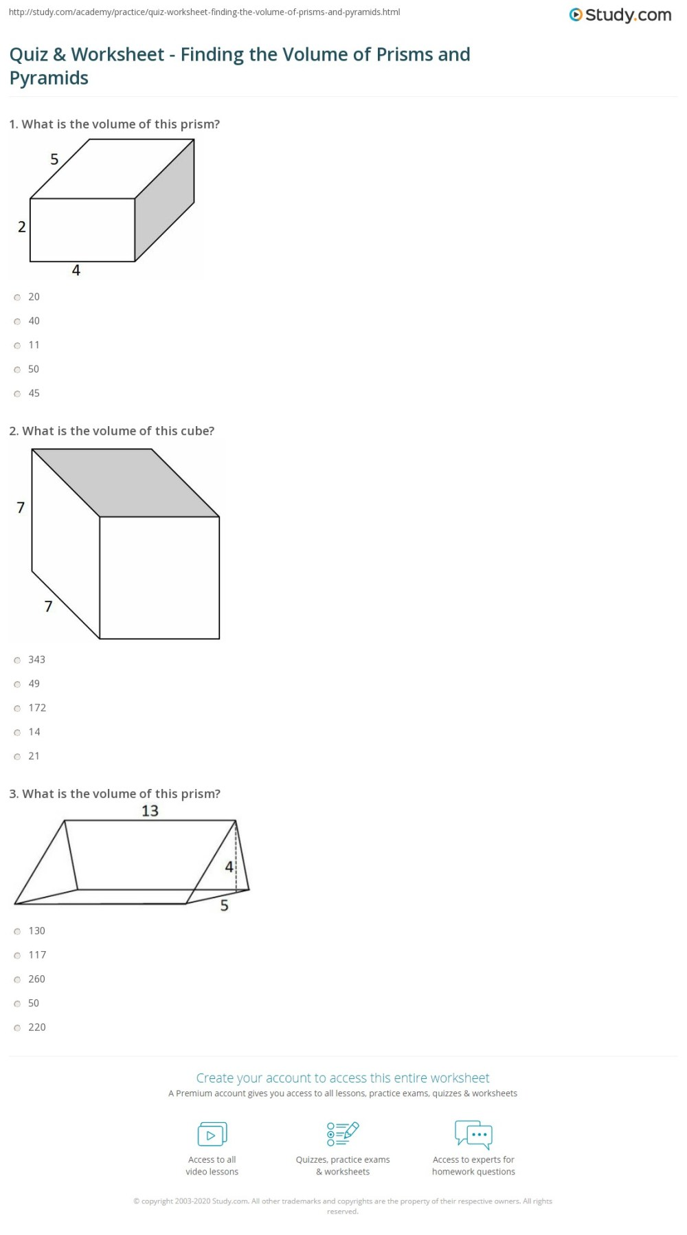 medium resolution of Quiz \u0026 Worksheet - Finding the Volume of Prisms and Pyramids   Study.com