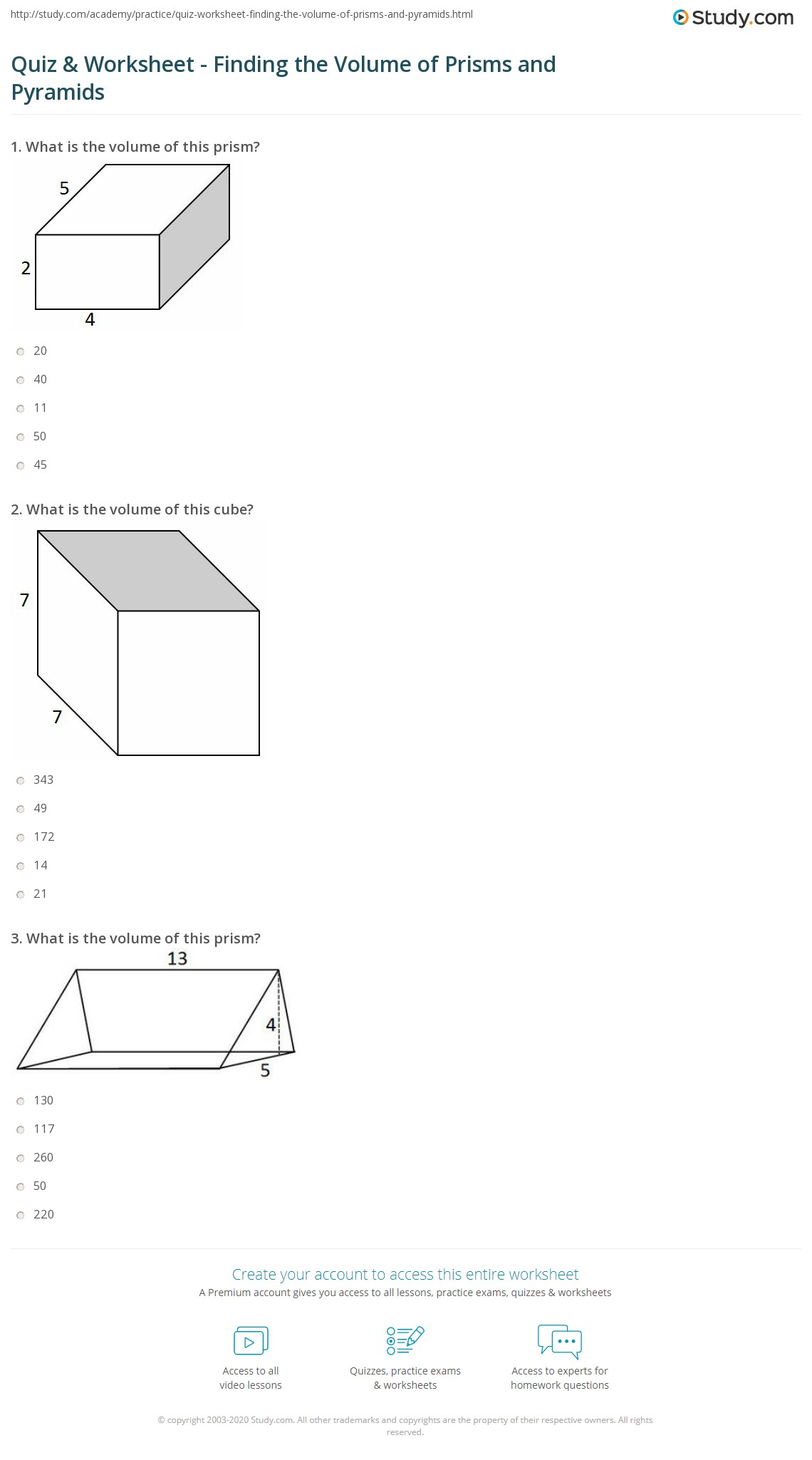 hight resolution of Quiz \u0026 Worksheet - Finding the Volume of Prisms and Pyramids   Study.com