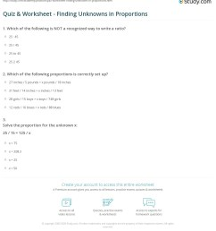 Quiz \u0026 Worksheet - Finding Unknowns in Proportions   Study.com [ 1249 x 1140 Pixel ]