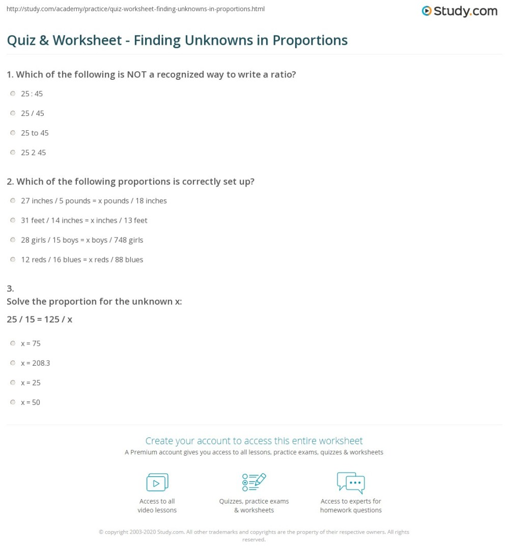 medium resolution of Quiz \u0026 Worksheet - Finding Unknowns in Proportions   Study.com