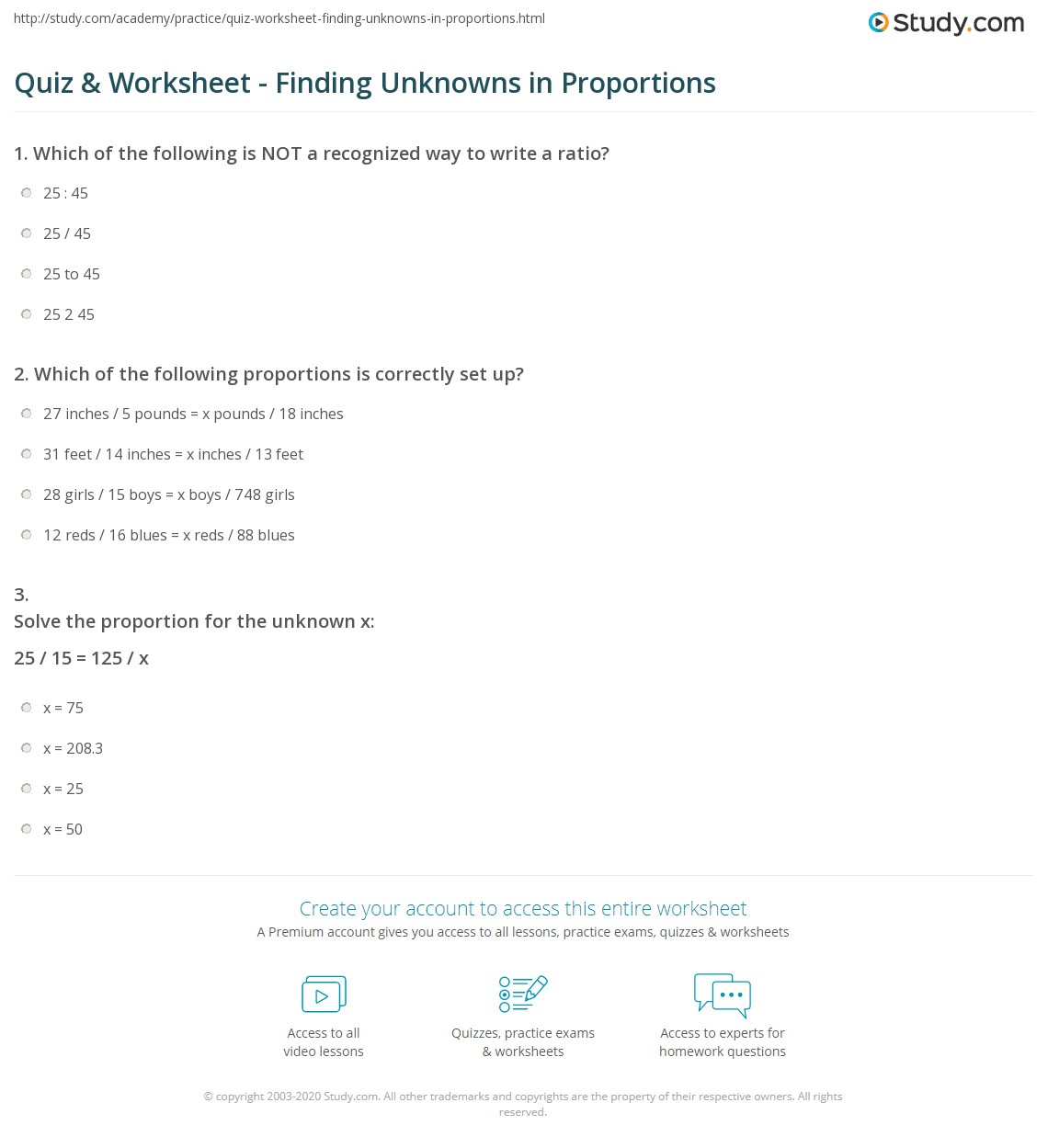 hight resolution of Quiz \u0026 Worksheet - Finding Unknowns in Proportions   Study.com