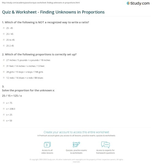 small resolution of Quiz \u0026 Worksheet - Finding Unknowns in Proportions   Study.com